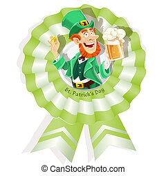 Rosette on St Patricks Day with Leprechaun with beer