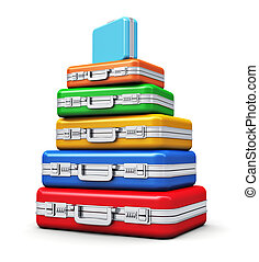 Stack of color travel cases isolated on white background