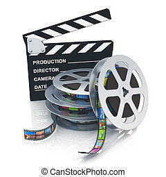 Clapper board and reels with filmstrips - Cinema, movie,...