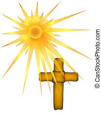 Brown Cross under Sun Rays - Illustration of sun rays...