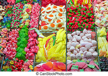 candy background - Mixed colorful sweetmeats candy...