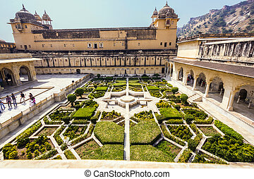 Beautiful gardens in Amer Fort, Jaipur, India