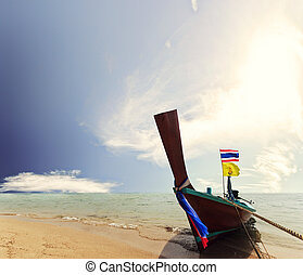 Boat in Phuket Thailand - Long tailed boat Ruea Hang Yao in...