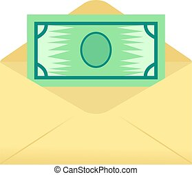money envelope - a banknote coming out of an opened...