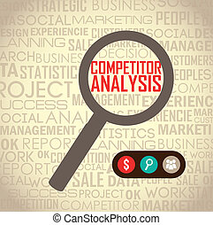competitor analysis illustration with magnifying glass...