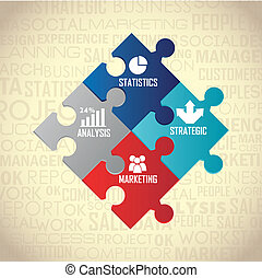 competitor analysis illustration with puzzles, vintage...