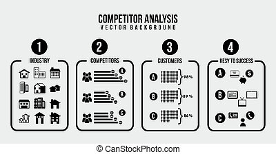 competitor analysis illustration,black and white vector...