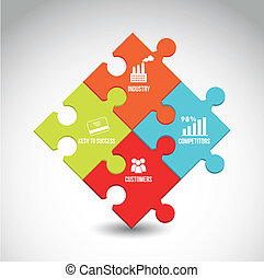 competitor analysis illustration with puzzles. vector...