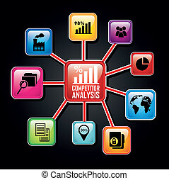 competitor analysis illustration, colorful diagram vector...