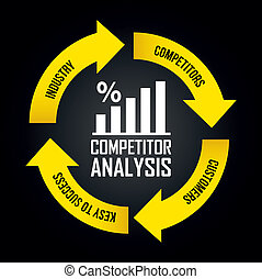competitor analysis illustration with arrows. vector...