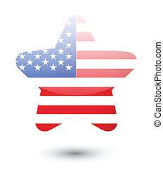 USA flag on star