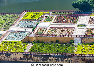 Maota Lake and Gardens of Amber Fort in Jaipur, Rajasthan,...