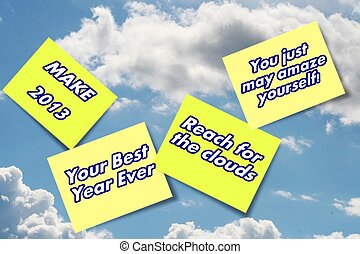 2013 You Can do it sticky note sign - Blue sky with clouds...