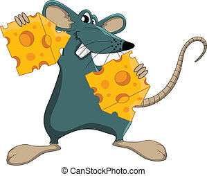 Cute cartoon mouse with cheese - vector illustration of Cute...