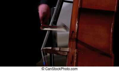 Closeup of man playing double bass - Hand of man playing...