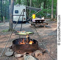 Campsite Meal - An outdoor grill at a Pennsylvania State...