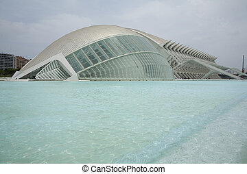 The L\\\'Hemisferic museum in Valencia, Spain.