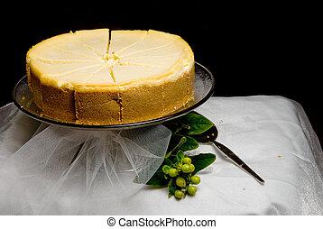 Lemon Custard Cake - A gourmet lemon custard cake on a...