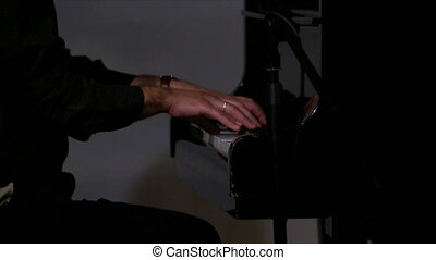 Closeup of man playing piano - Hand of man playing accordion...