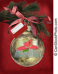 religious Christmas ornament - Holy Bible with candle in...