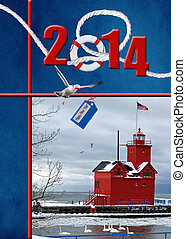 nautical 2014 New year - Red lighthouse for 2014 new year.