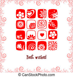 greeting card best wishes flowers and hearts