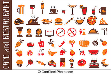 food and drink icons set white background - food and drink...