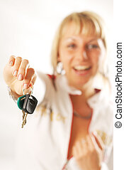 A woman with the car keys