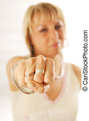 A woman showing her fist