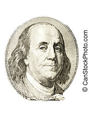 Benjamin Franklin - A portrait of Benjamin Franklin from 100...