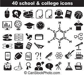 40 school and college icons black and blue - 40 school and...