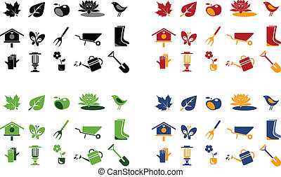 gardening icons - gardening and landscape icons. 4 color...