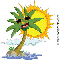 cartoon palm tree and sun