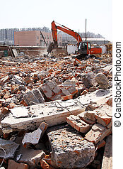 housing demolition materials in the demolition site