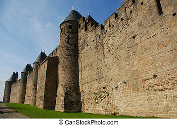 Carcassonne, medieval city in the Languedoc Roussillon,...
