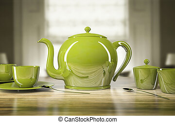 Green teapot and teacups - An image of a green teapot and...
