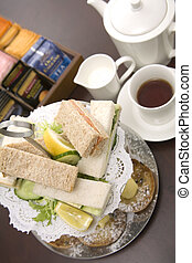 Afternoon tea - An arrangement of sandwiches and scones for...
