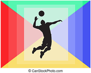Handball player silhouette - Sport illustration concept