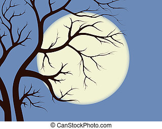 Spooky tree branches on moonlight