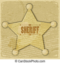 Sheriff's star on the vintage background