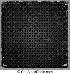 Metallic background with holes on a retro background