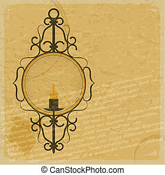 Vintage paper background with the image of a candle in an old candlestick