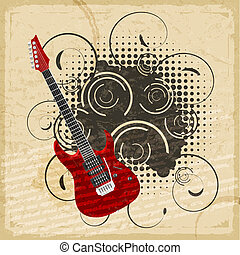 Vintage paper background with the image of an electric guitar