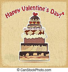 Vintage postcard showing big cake for Valentine's Day