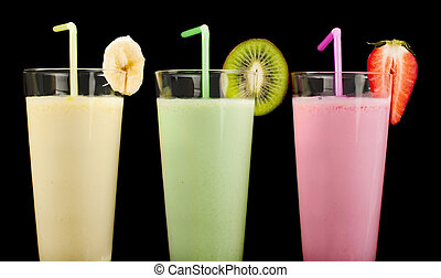 Banana, kiwi and strawberry milk shake and fresh fruis....