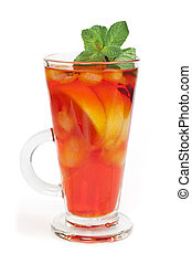 Ice tea white isolated. Glass ice tea with ice cubes and...
