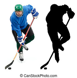 Ice hockey player and it's silhouette - Ice hockey player in...