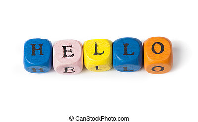 Word hello on multicolored wooden cubes