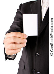 Business man with greeting card