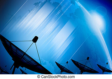 Satellite dish transmission data on background digital blue...